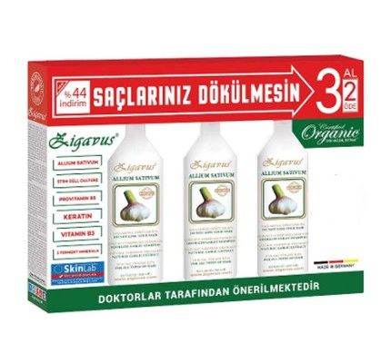 Zigavus Kokusuz Sarımsaklı Şampuan 3x250 ml 3 Al 2 Öde Kampanyası